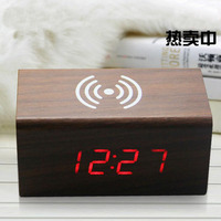 Modern LED Wooden Digital Alarm Clock Voice Control Wireless QI Charging for Phone Thermometer Wifi Despertador