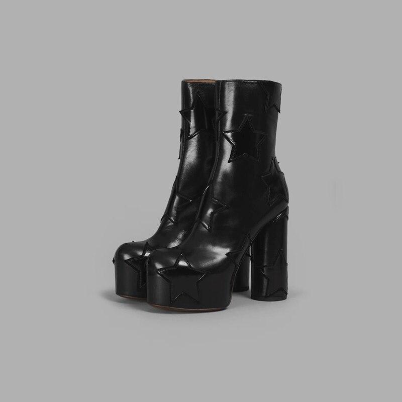 as White Extreme Qualität Schuhe Frauen Shown Heel Starke Kurze Luxus Shown Star Hohe Plattform Stiefel As High Ferse Designer Marke Stiefeletten wqrXWH8nw