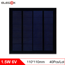 ELEGEEK 40Pcs/Lot 6V 1.5W Polycrystalline Solar Panel PET Mini Polysilicon Solar Cell Panel for DIY and Education 110*110mm