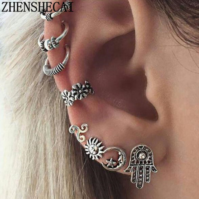 Punk Metal Water Drop Chain Earrings Sets Vintage 6PCS Silver Color Tassel Ear Clip Set Women Brincos boucle d'oreille e0262