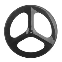 70mm Depth Clincher 3 Spoke Wheel T700 Full Carbon Fibre Road Bike Fixed Gear Tri Wheelset