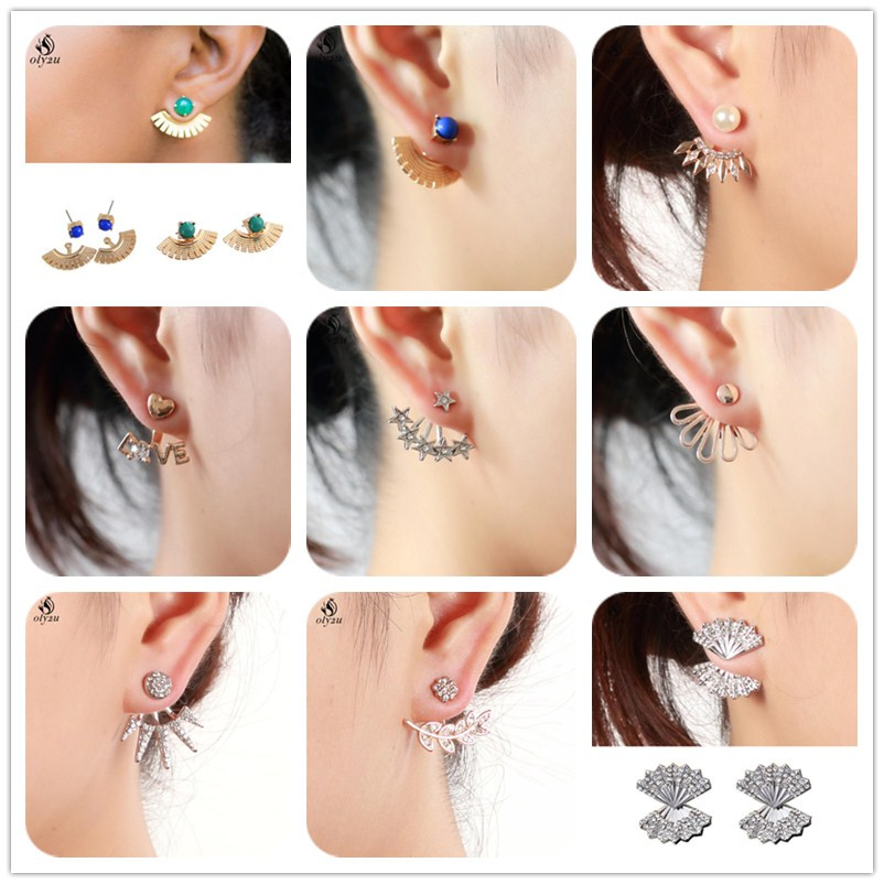 Oly2u CZ Crystal LOVE Heart Earring Jackets Brincos Pending Mujer Front Back Two Sides Star Earrings Mismatch Style Pendientes