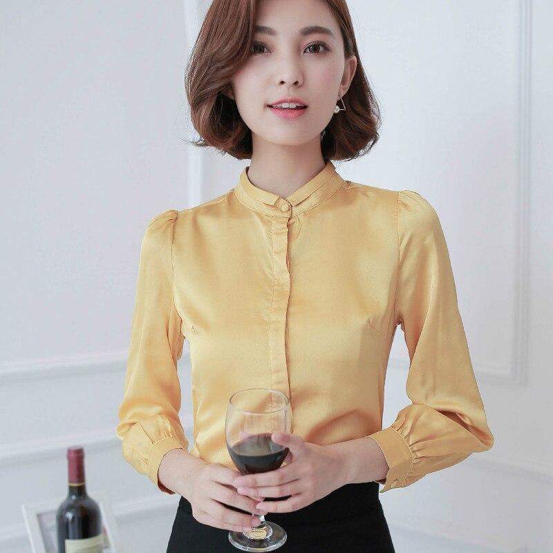 2016 Fall long sleeve white blouses women yellow shirts woman satin shirts  OL Shirt office silk - Popular Yellow Silk Tops Women-Buy Cheap Yellow Silk Tops Women