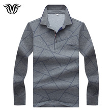 VORELOCE brand men's simple autumn long-sleeved polo shirt 2017 new diamond pattern high-quality cotton lapel polo shirt men