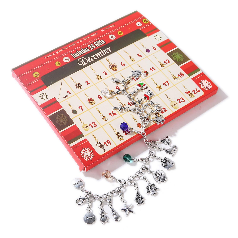 Behogar feliz natal advento charme calendário com 22 pçs encantos para diy pulseira colar fazer jóias crianças presente feminino