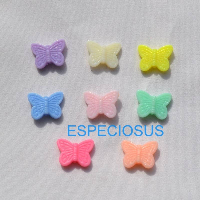 100 шт, аксессуары для сережек, разноцветные акриловые бусины для детей, Отдел изготовления 15*11 мм, ювелирные изделия с мультяшными бабочками