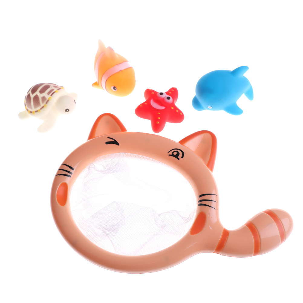 5pcs/set Pick Up Fish Turtle Dolphin Fishing Toys Network Bag Kids Toy Summer Play Water Bathroom Bath Baby Play Toys