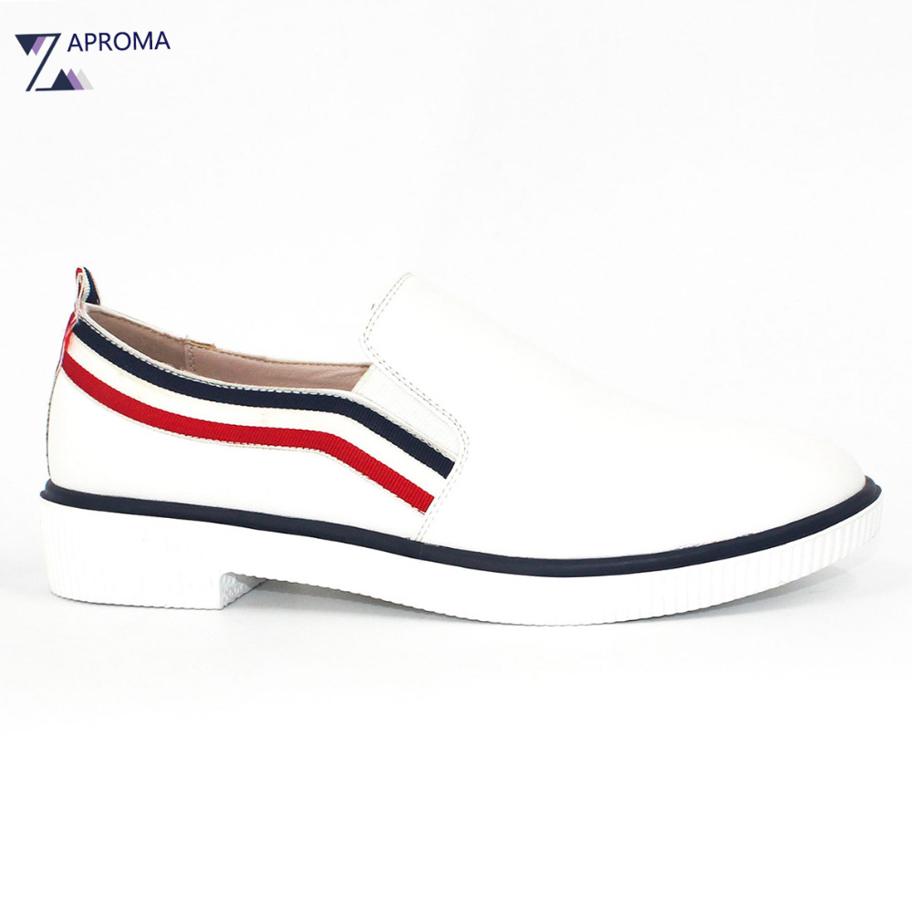 2017 White Shoes Women Black Red Striped Slip On Loafers Shallow Flats Casual Spring Autumn PU Classics Comfortable cresfimix zapatos women cute flat shoes lady spring and summer pu leather flats female casual soft comfortable slip on shoes