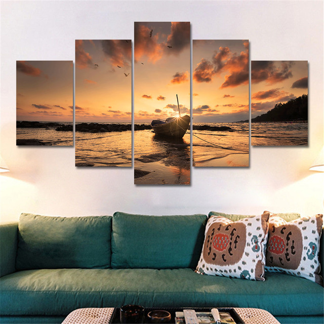 Aliexpress Com Buy 5 Panels Dusk Sunset Boat Printed: Canvas Painting Home Decoration Wall Art Pictures 5 Panel