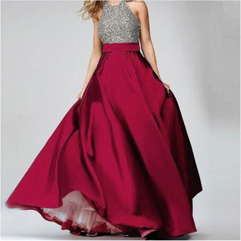 Élégant bordeaux taille haute Satin longues jupes longueur de plancher formelle soirée bal fête jupes Maxi jupe personnalisé toutes les couleurs gratuit