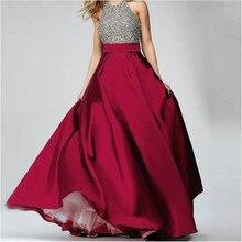 Elegancki bordowy wysokiej talii satynowy spódnice piętro długość formalne na wieczorny bal spódnice na przyjęcie długa spódnica niestandardowe wszystkie kolory za darmo