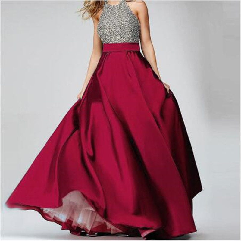 Elegant Burgundy High Waist Satin Long Skirts  Floor Length Formal Evening Prom Party Skirts Maxi Skirt Custom All Color Free-in Skirts from Women's Clothing