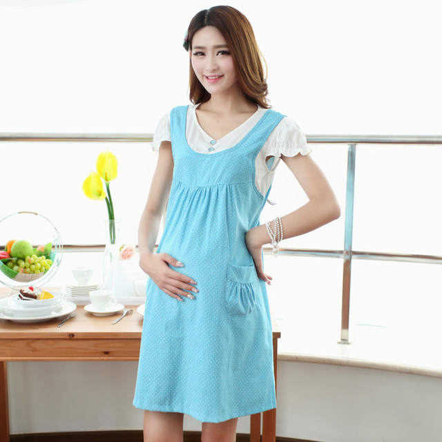 adc5b1cea8d Maternity Dress For Pregnant Women False Two Maternity One-Piece Summer Dresses  Pregnancy Clothing Asian Tag Size L-XL