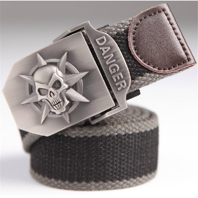 Cinturón de lona de los hombres de moda cráneo Metal tácticas - Accesorios para la ropa - foto 5