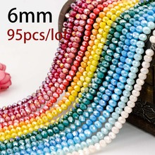 5A qaulity !!!6MM 95 piece/lot Bicone crystal beads Cut Faceted Round Glass Beads