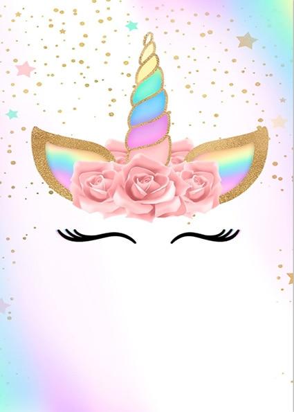 5x7FT Gold Spots Rainbow Sky Unicorn Face Mask Flowers