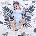 95*125 cm asas de anjo de fios de algodão orgânico toalha de pano do bebê cobertor do bebê envoltório bebê recém-nascido guardanapo