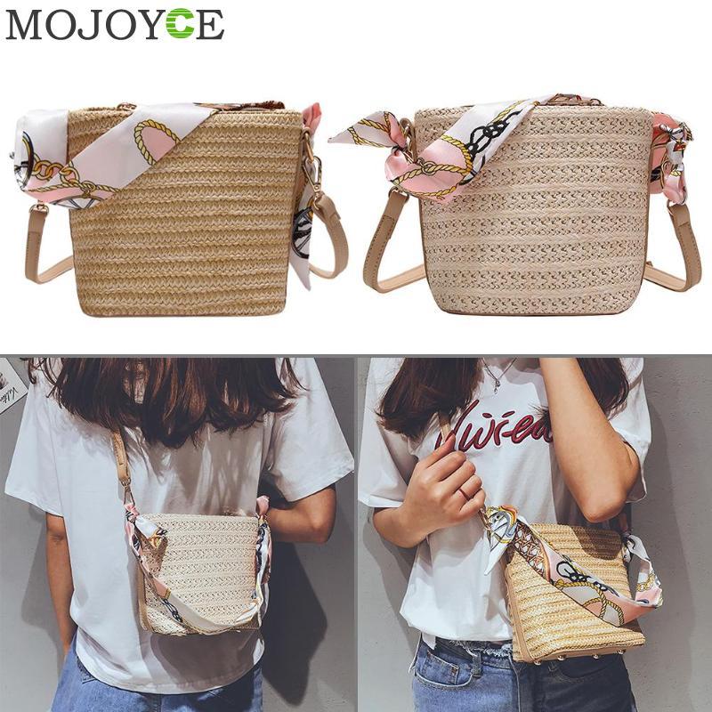 Summer Women Durable Weave Straw Beach Bags Feminine Woven Bucket Bag Grass Casual Silk Riband Handbags Knitting Rattan Bags стоимость