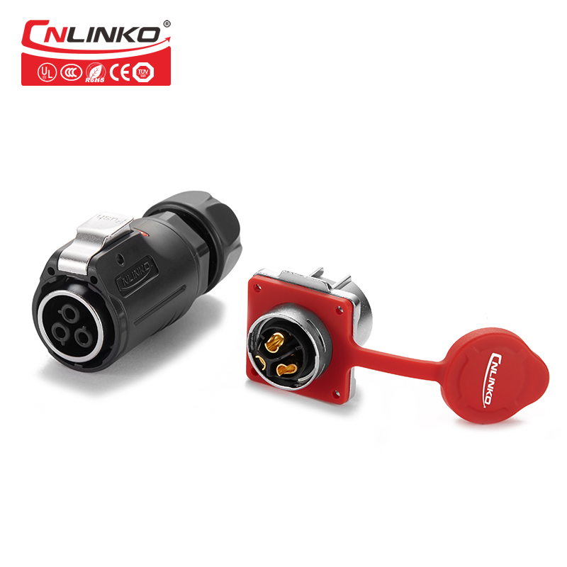 Cnlinko industrial circular plastic waterproof IP67 wire plug and socket outdoor cable quick disconnect 3pin power connectors xhe20 ip67 4pin waterproof connectors 4 pins power cable connector male and female automotive connectors plug and socket