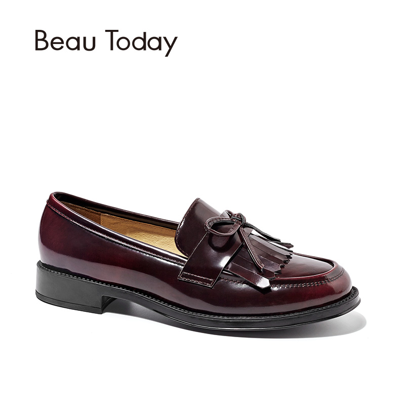 BeauToday Women Moccasin Loafers Handmade Tassel Bowknot Round Toe Slip-On Genuine Leather Top Quality Lady Shoes 27064 2017 shoes women med heels tassel slip on women pumps solid round toe high quality loafers preppy style lady casual shoes 17