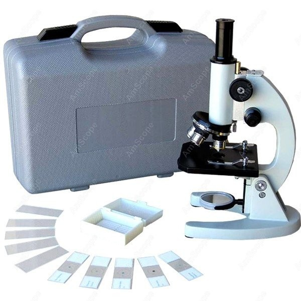 Lens Biology Student Microscop-AmScope Supplies 40X-640X Metal Body Glass Lens Biology Student Microscope w ABS Case & Slide Kit