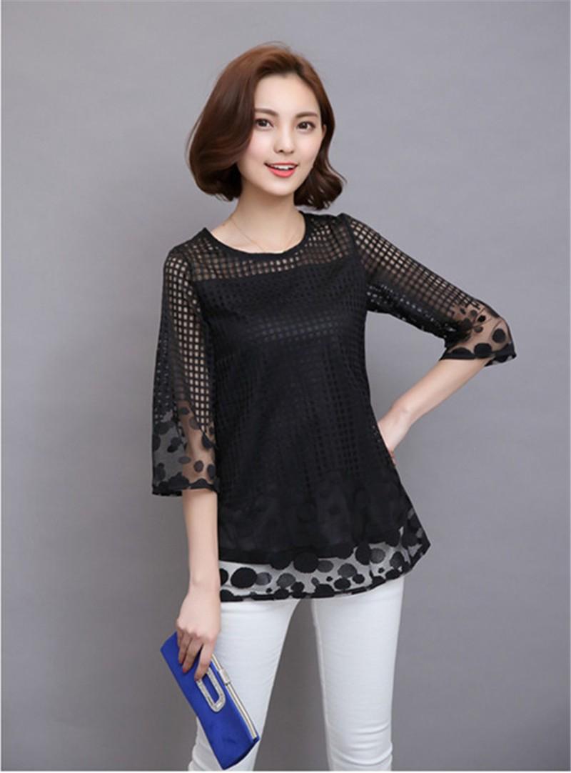 Plus Size 4XL 5XL 6XL  Luxury Lace O Neck  Women Blouse Shirt Noble Long Mesh sleeve Shirt Blouse Vintage tops Blusas Femininas (34)