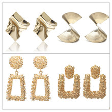 Large Exaggeration metal Earrings for Women Golden 2018 Geometric statement Earrings Fashion Jewelry(China)