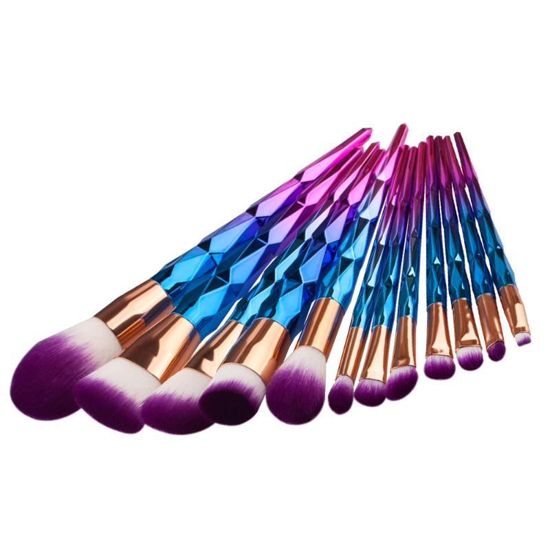 Silky Soft 12Pcs Rhinestone Colorful Makeup Cosmetic Brush Set Foundation Powder Blush Brushes Set DIY Makeup Eyebrow Eyelash