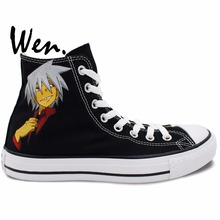 Wen Woman Man's Sneakers Anime Soul Eater Hand Painted Shoes Design Custom Bottom High Top Flats Black Canvas Sports Shoes