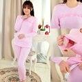 100% Algodón de enfermería Lactancia vestido de pijamas camisón de manga larga superior ropa de maternidad las mujeres embarazadas