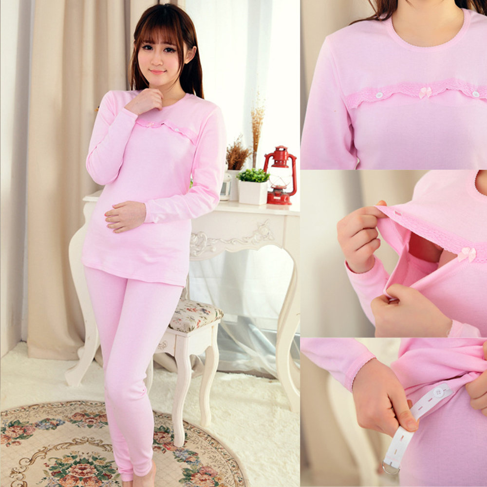 100% Cotton Breastfeeding nursing dress top pajamas long sleeve nightie maternity clothes pregnant women