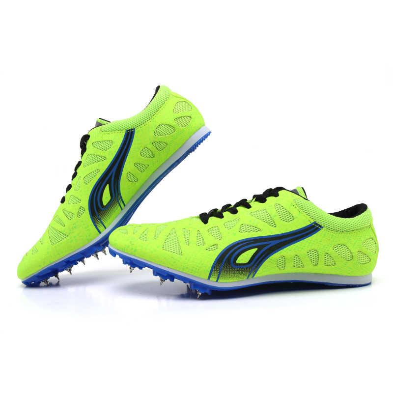 זוגות מסלול נעלי אביב סתיו Mens קוצים מסלול שחור ירוק נשים ריצה ספרינטים Sneaker נעלי ספורט קל משקל