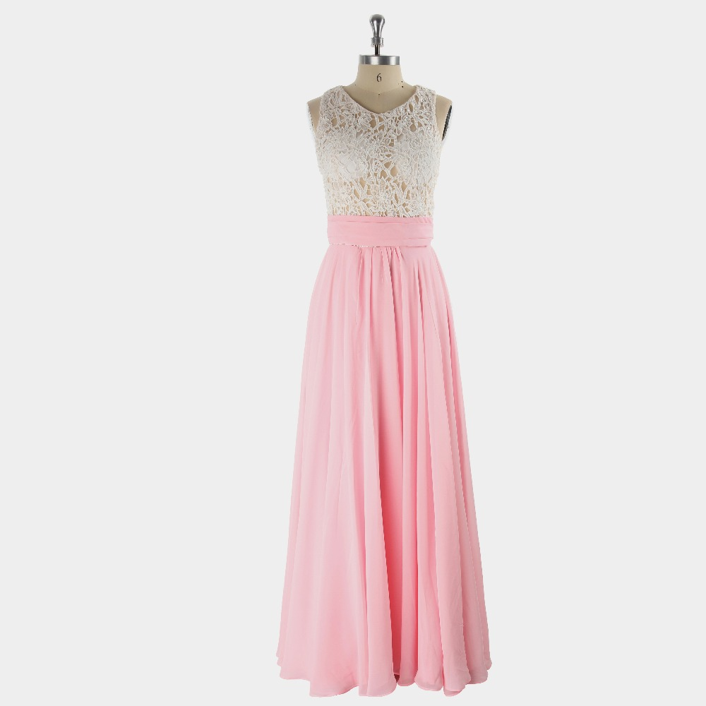 2017 Sexy Pink Sheath/Column Sleeveless Zipper Floor-length Chiffon Appliques Formal   Prom     Dress   Evening Graduation