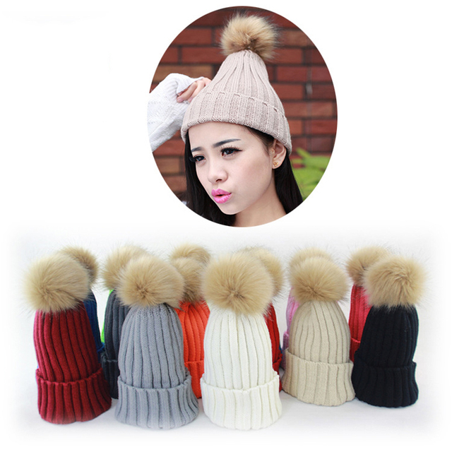 Korea Fashion 2016 Women's Hats Candy Color Knitted Winter Hats For Women Knit Cap With Faux Fur Ball Beanie Knitting Warm Hat