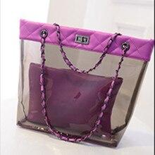 2016 новая мода диких пакет картина водонепроницаемый прозрачный желе сумка пляжная сумка кристалл сумка Плеча цепь ZS452