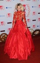 Sexy Red A Line Abendkleider mit Langen Ärmeln Durchsichtig High Neck Applizierte Spitze Taft Abendgesellschaft Kleid