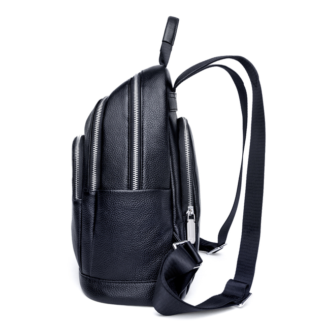 ZOOLER 100% Real Genuine Cow Leather Black Silver Women Functional Backpack Lady Girl Top Layer Cowhide School Bag Mochila#HH200