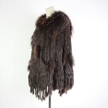 Зимнее женское пончо с натуральным кроличьим мехом и капюшоном, широкий свитер накидка, шаль, меховое пальто с капюшоном, меховые пончо