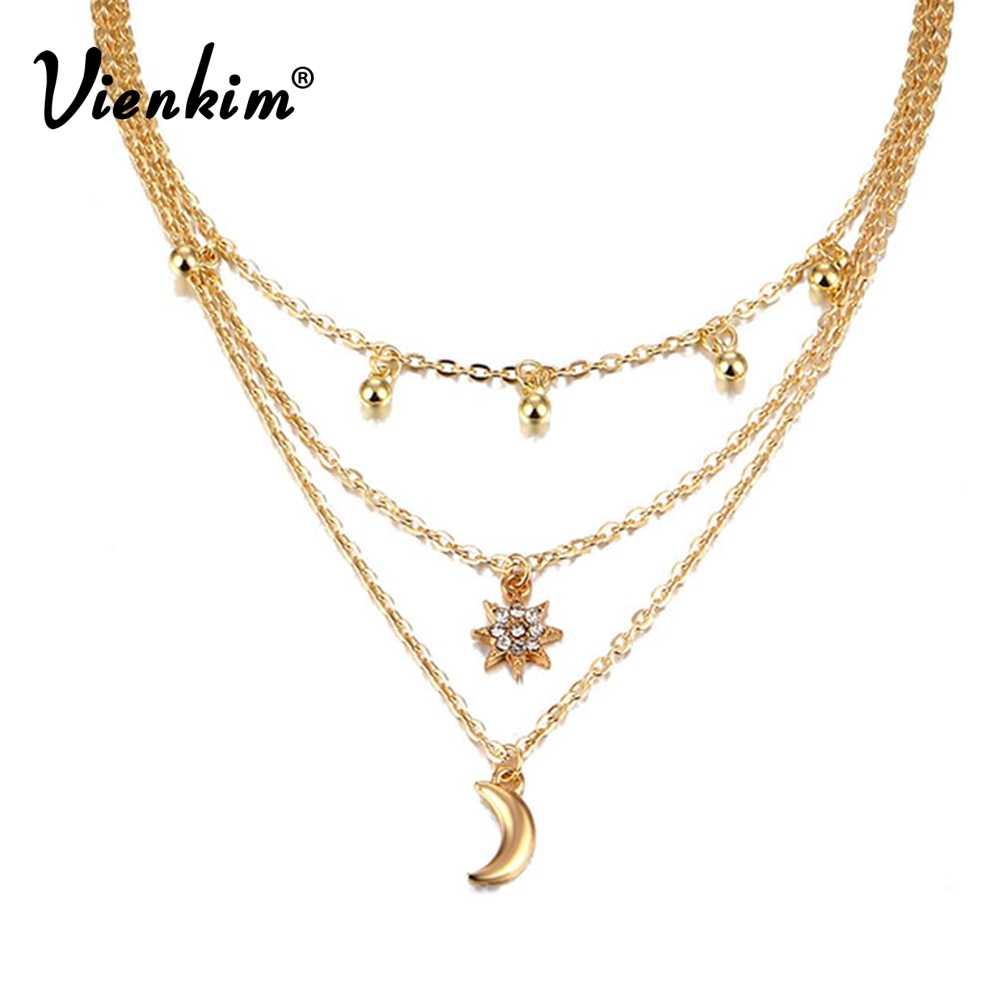 Vienkim 2019 新デザイン多層ビーズチョーカーネックレス女性のセクシーなクリスタル太陽湾曲した月のペンダントネックレス宝石類のギフト