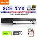 New 8CH Super XVR Todos Os HD 1080 P 5-em-1 de Vigilância CCTV DVR Gravador de Vídeo com saída HDMI AHD Analógico//IP Onvif/TVI/Câmera CVI