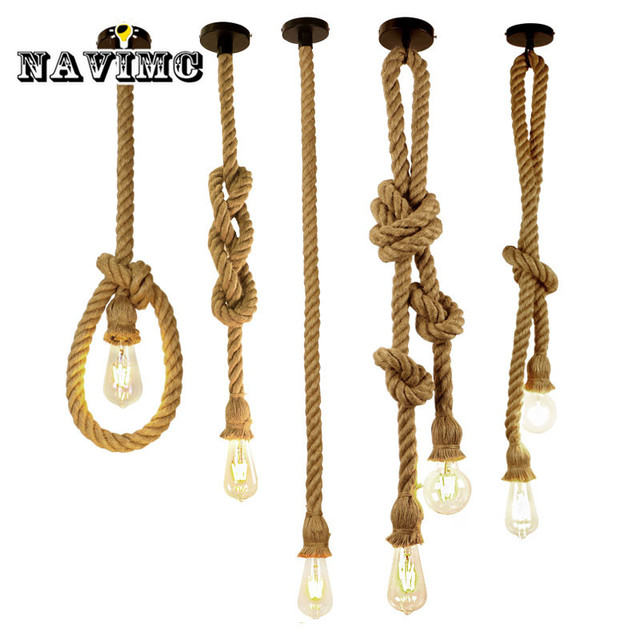 Retro Vintage Hemp Rope Pendant Light Loft Creative Resturant Store Hanging Rope Lamparas With Edison Bulb American Style