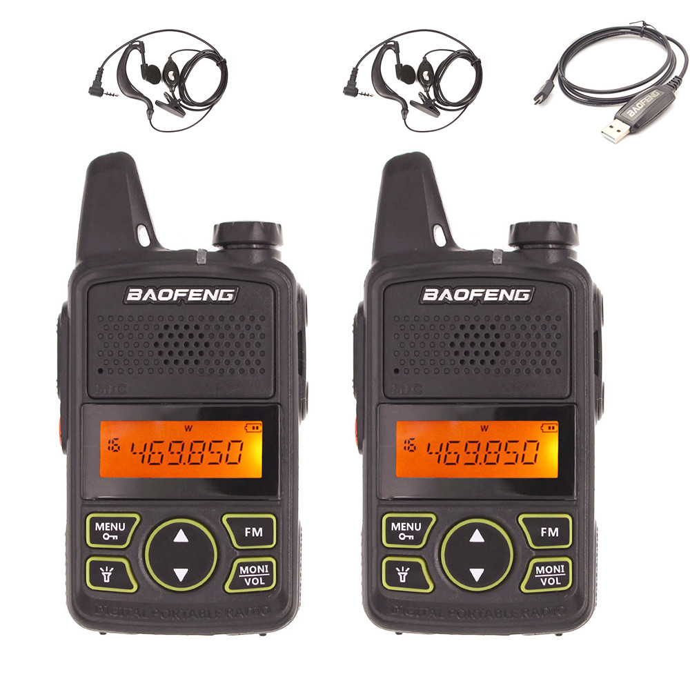 2pcs Baofeng BF-T1 MINI Kids Walkie Talkie Ham Two Way Radio comunicador BFT1 Walkie Talkie USB Handheld Portable HF Transceiver