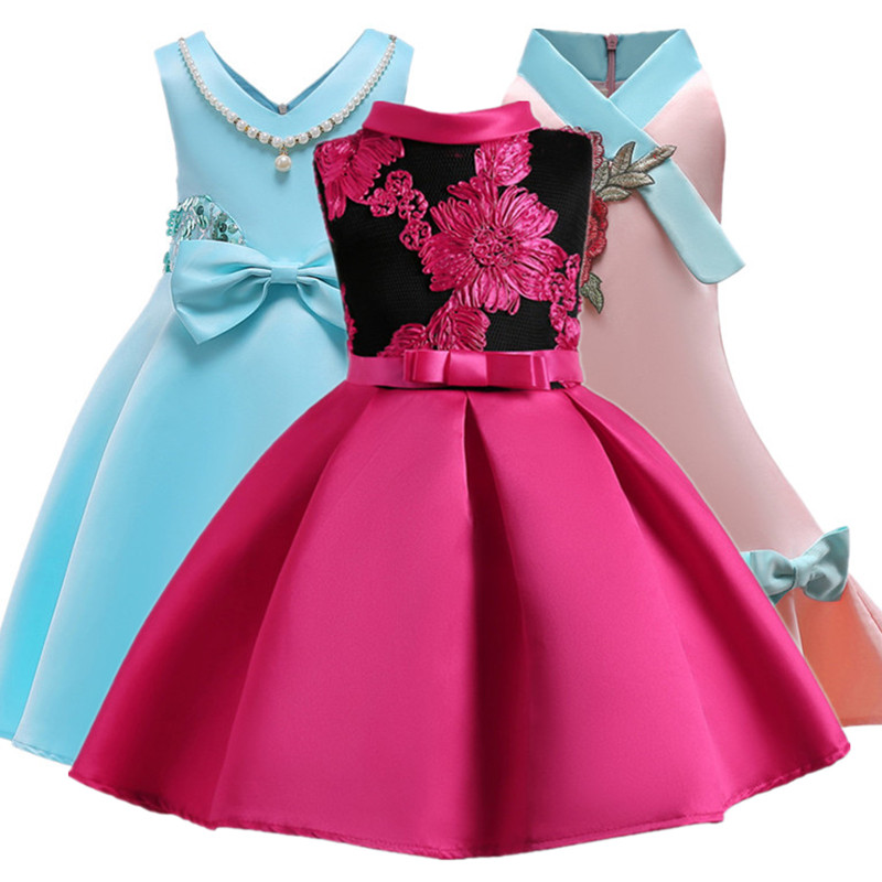 Baby Girl Princess Dresses Embroidery Kids Clothes Wedding Dress For Birthday Party Kids Toddler Clothing Children Custumes toddler girl princess dress flower kids dresses for baby girls clothes dresses for party and wedding clothing 13 color choose