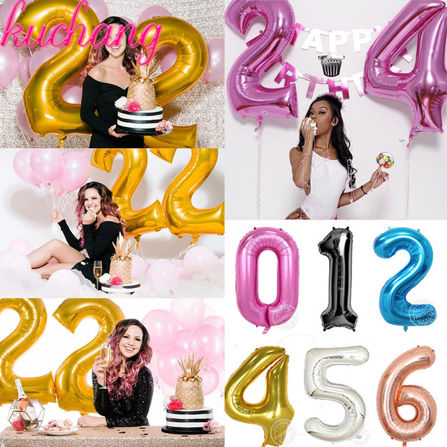 16th 18th 20th 21st 22 28th 30th 50th Birthday Balloon Gold Silver Number Happy Party Decorations Adult
