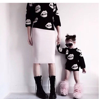 New 2016 Spring Family Look Mother And Daughter Clothes Fashion Children Sweaters Women Sweater Matching Mother