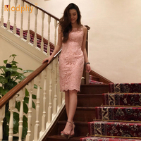 2019 new women's sexy bandage dress pink summer sleeveless strapless lace beaded Bodycon Vestidos celebrity party dress