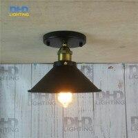 Free Shipping Retro Indoor Lighting E27 220mm Iron Shade Brass Thread Socket Ceiling Light Fixture Edison