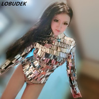 Lady singer dancer stage mirror bodysuit jumpsuit clothing costumes personality female dress stars bar show party nightclub