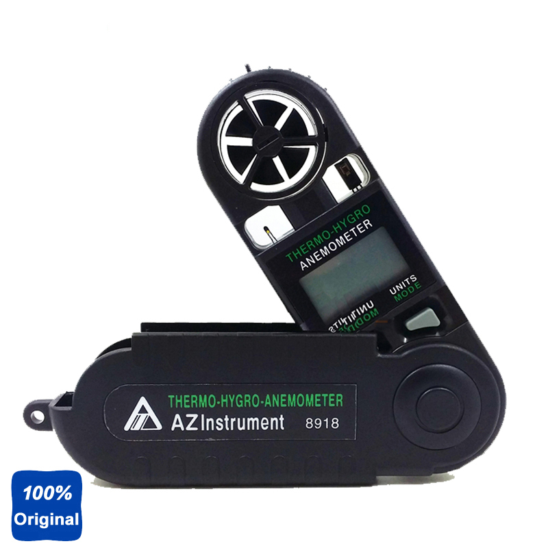 AZ8918 Digital Thermometer Hygrometer Pocket Anemometer Wind Speed Meter free shipping gm8901 45m s 88mph lcd digital hand held wind speed gauge meter measure anemometer thermometer