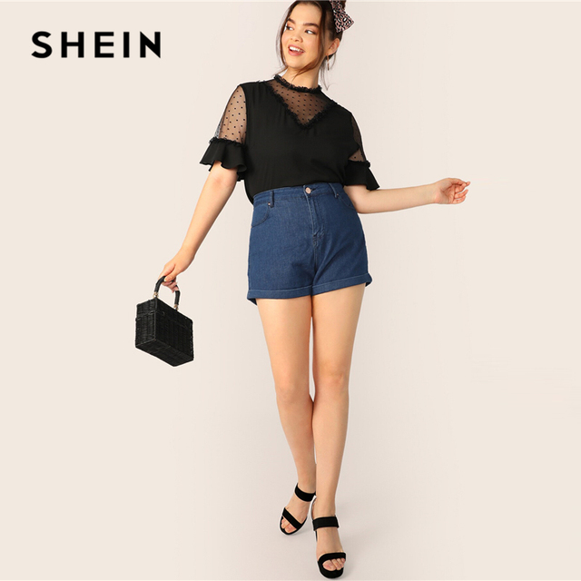 SHEIN Plus Size Black Lace Frill And Mesh Insert Bell Sleeve Top Blouse 2019 Women Summer Elegant Flounce Sleeve Sheer Blouses 3